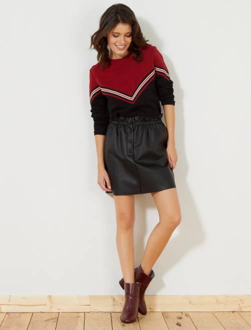 Falda de piel sintética con cintura fruncida                             negro Mujer talla 34 a 48