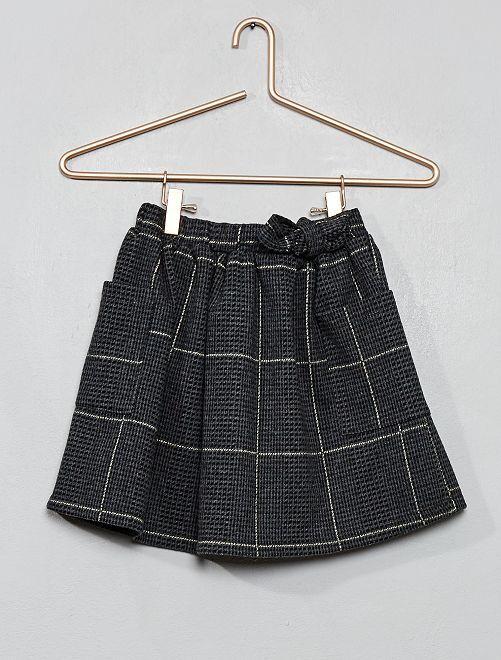 Falda de punto suave a cuadros                                                     GRIS