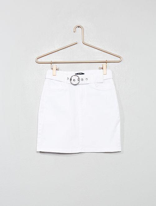 Falda de sarga                                         BLANCO