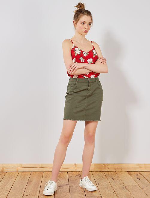 Falda de sarga                                                                             KAKI Mujer talla 34 a 48