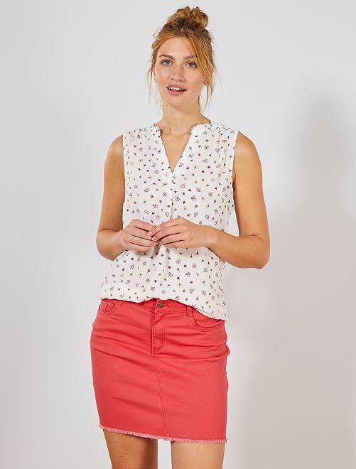 Falda de sarga                                                                             rojo cereza Mujer talla 34 a 48