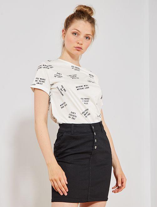 Falda de tejido vaquero elástico                             NEGRO