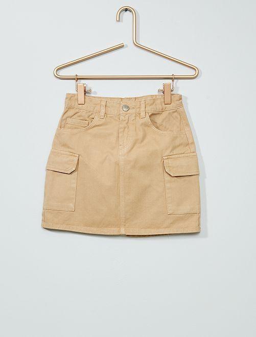 Falda de tela con bolsillos 'cargo'                                                     BEIGE