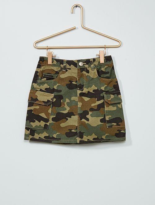 Falda de tela con bolsillos 'cargo'                                             camuflaje caqui
