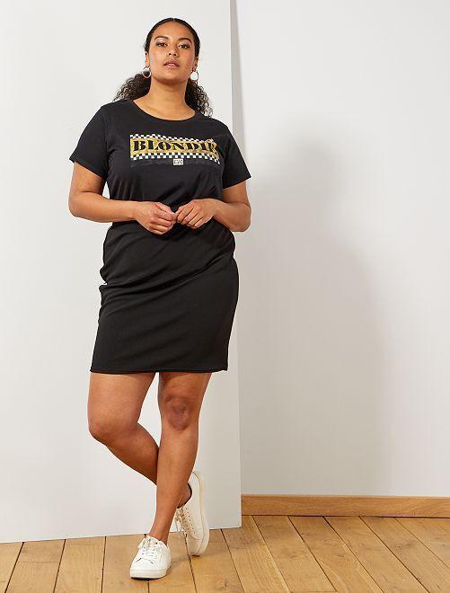 Falda de tubo con bandas laterales                             negro/blanco