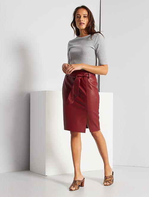 Falda de tubo de piel sintética                                                     BLANCO