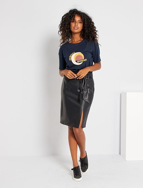 Falda de tubo de piel sintética                                         negro