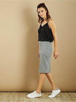 Faldas media - Falda de tubo de punto elástico y en relieve