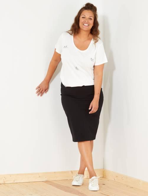 Falda de tubo de punto milano a rayas                             noir Tallas grandes mujer