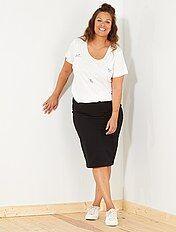 Falda de tubo de punto milano a rayas