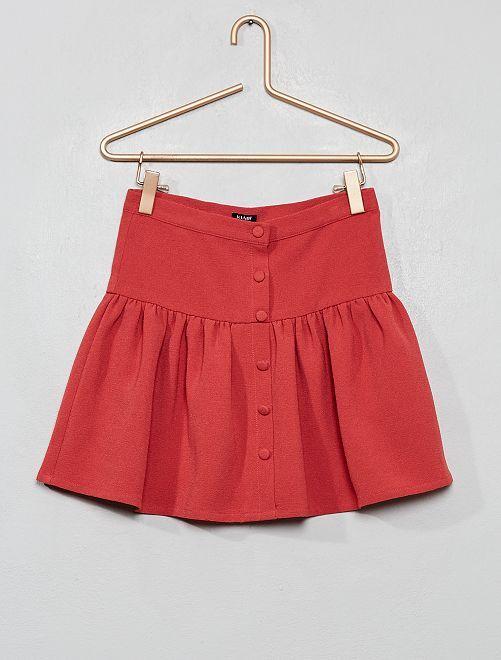 Falda fruncida de crepé                                         rojo granate