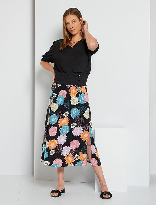 Falda larga con abertura y estampado de flores 'JDY'                                         NEGRO