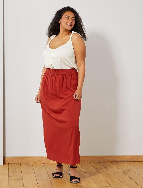 Falda larga con cintura elástica                             rojo ocre Tallas grandes mujer