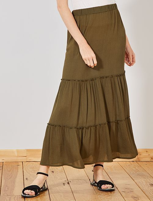 Falda larga de crepé                                         KAKI