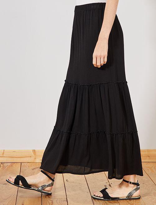 Falda larga de crepé                             negro