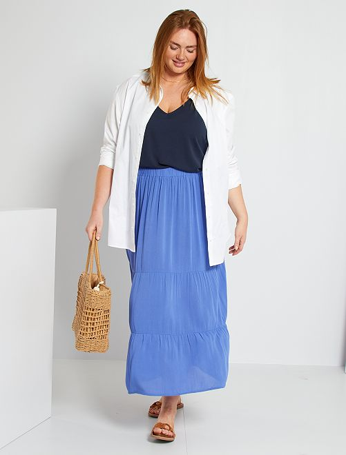 Falda larga de crespón de viscosa                                         azul