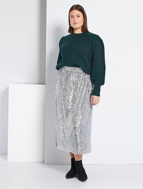 Falda larga de lentejuelas                             plata
