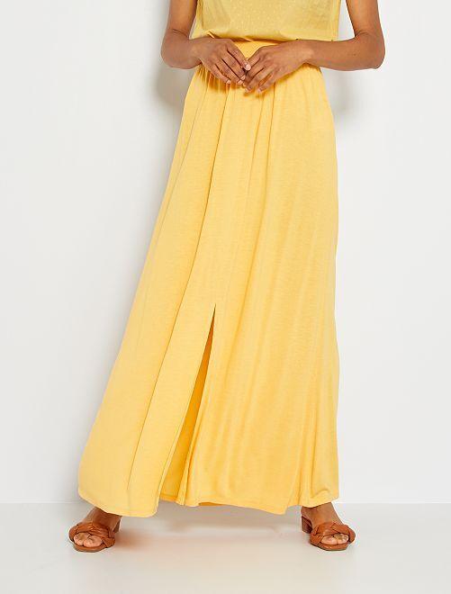 Falda larga de punto                                                                 amarillo crema