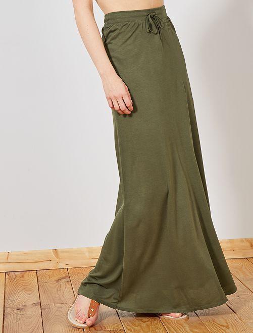 9bbab905 Falda larga de punto elástico Mujer talla 34 a 48 - KAKI - Kiabi ...