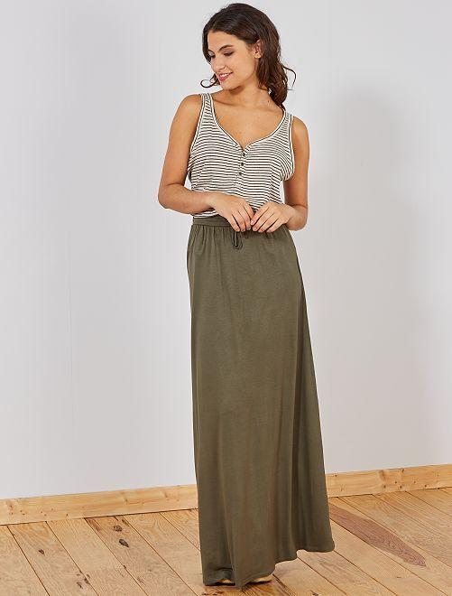 Falda larga de punto elástico                                                                 KAKI Mujer talla 34 a 48