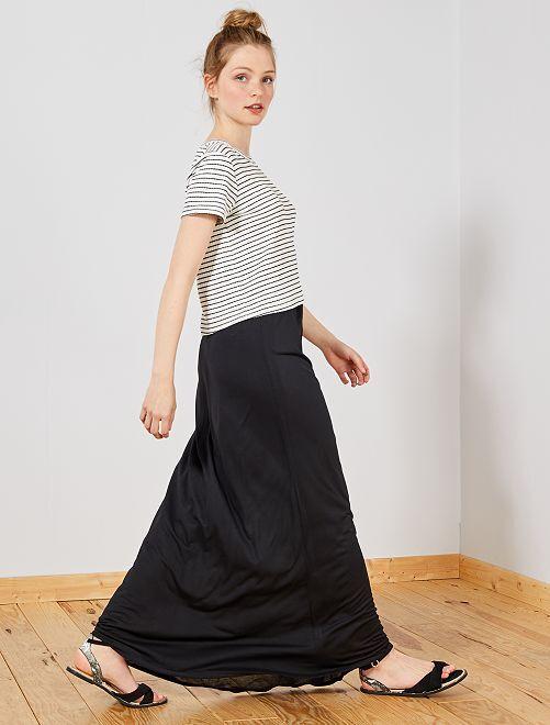Falda larga de punto elástico                                                                 negro Mujer talla 34 a 48