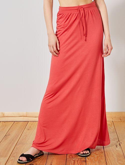 Falda larga de punto elástico                                                     ROJO Mujer talla 34 a 48