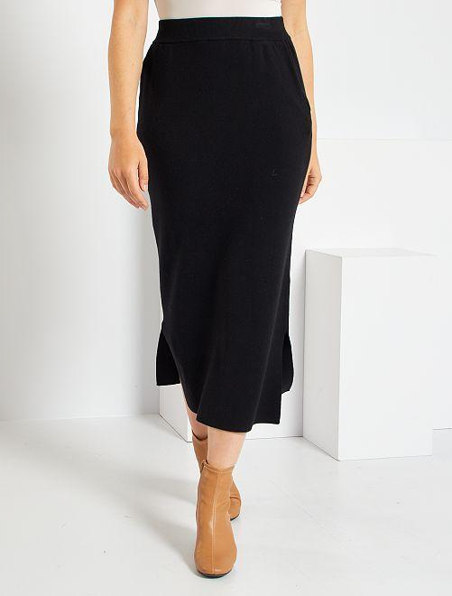 Falda larga de punto                             negro