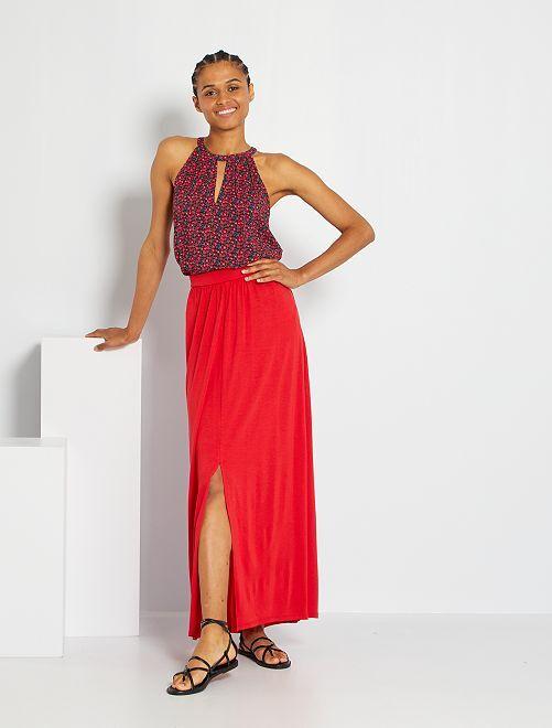 Falda larga de punto                                                                 rojo