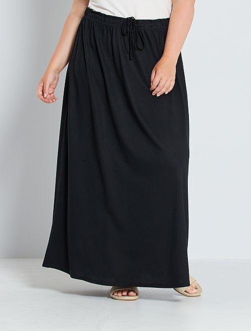 Falda larga de punto vaporoso                             negro