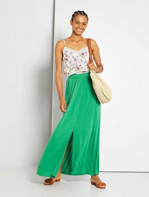 Falda larga de punto                                                                 verde