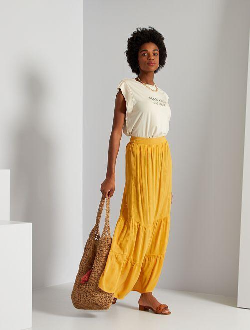 Falda larga de tejido de crepé                                         AMARILLO