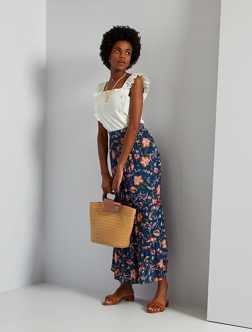 Falda larga de tejido de crepé                                         AZUL