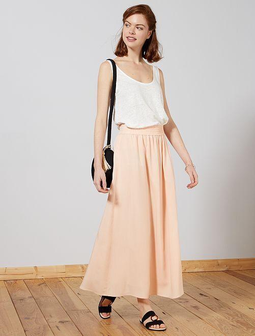 Falda larga de viscosa                             rosa melocotón Mujer talla 34 a 48