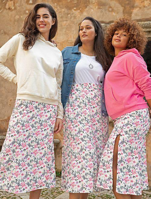 Falda larga estampada                                         BLANCO/rosa