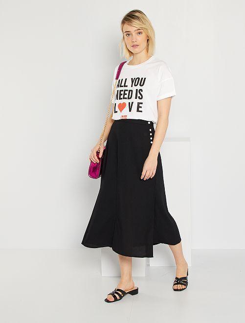 Falda larga estampada                                         negro