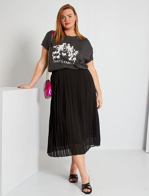 Falda larga plisada                                                     negro