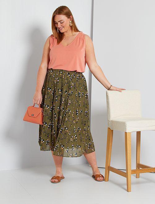 Falda larga plisada                                 VERDE
