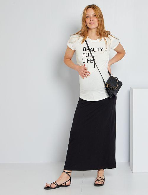 Falda larga premamá fruncida                             negro
