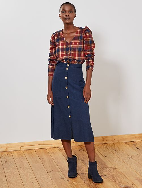 Falda midi botones efecto lino                     azul marino