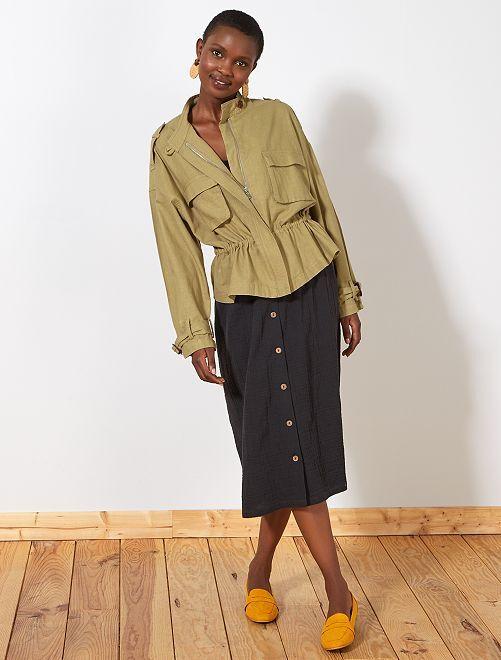 Falda midi de gasa de algodón                             negro
