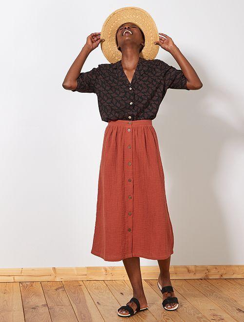 Falda midi de gasa de algodón                                         rojo ocre Mujer talla 34 a 48