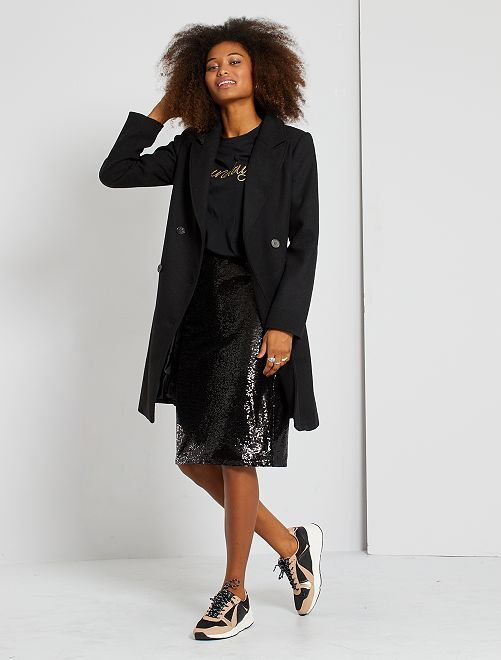 Falda midi de lentejuelas                                         negro