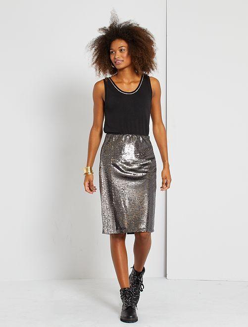 Falda midi de lentejuelas                                         plata