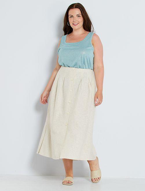 Falda midi de lino y algodón                             BEIGE