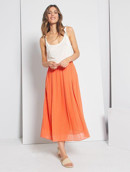 Falda midi plisada                                                         naranja