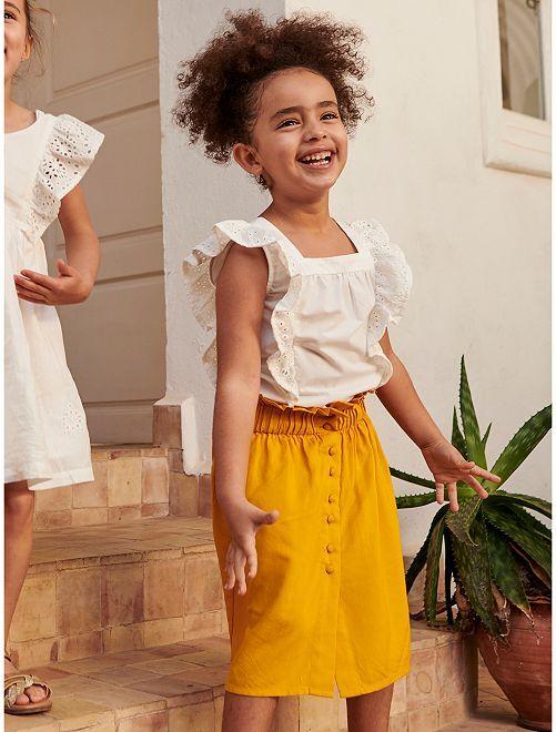 Falda midi vaporosa                             amarillo bronce