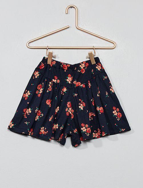 Falda pantalón de flores                                                                 AZUL Chica
