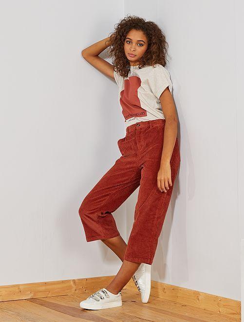 Falda pantalón de pana                     ROJO