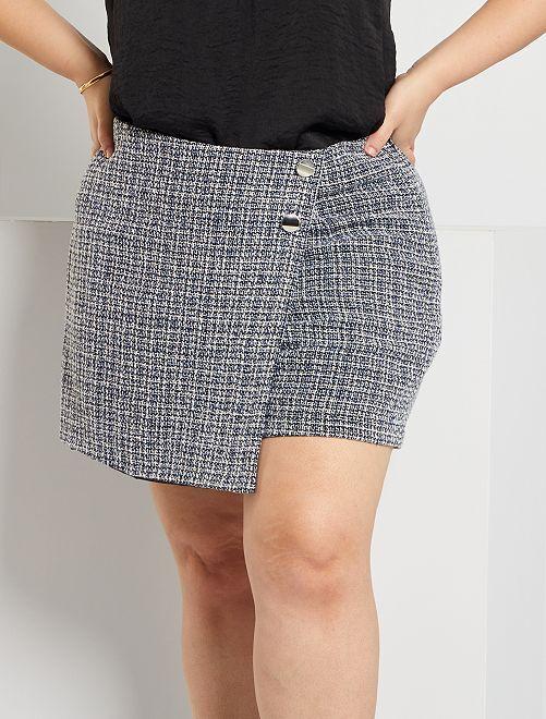 Falda pantalón en tweed                             AZUL