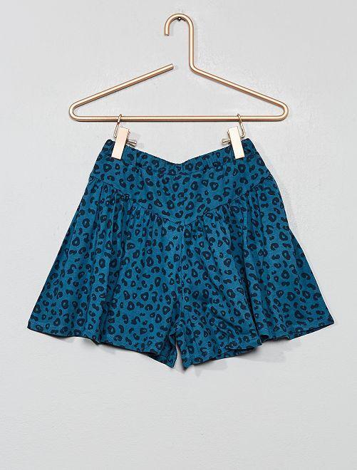 Falda pantalón estampada                                                                             AZUL Chica